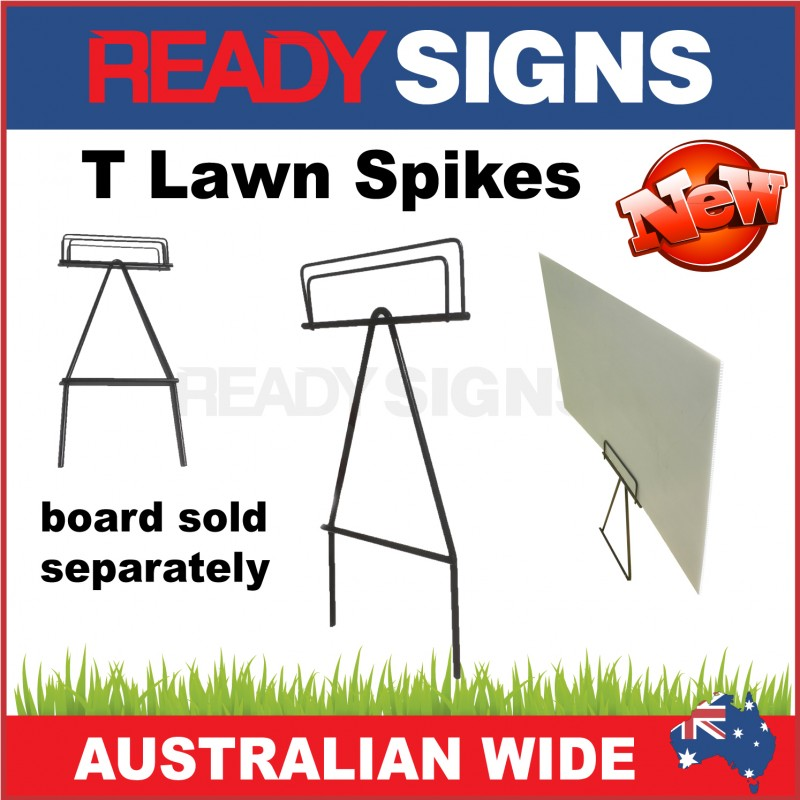 T Lawn Spike - Metal Sign Frame for Corflute Signs